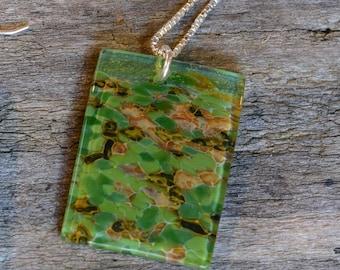 Forest Green mosaic handblown glass pendant necklace