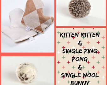 """Holiday Gift Box/Cats: Catnip Mitten + Felted Wool Ping Pong and """"Bunny"""". Cute eco friendly packaging makes this a sweet gift for any kitty."""