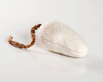 Medium Catnip Free Mouse. 100% Washable Organic Cotton.  Unique dye/plastic free natural cat toy. Fun to stalk and fetch!