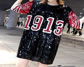 1fa4e5086f10 1913 Delta Sigma Theta Inspired Sequin Jersey T-shirt Dress One Size Fit  Most with FREE Pair of Earrings , graduation, gift DST 1913
