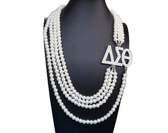 b17ee9d04 Delta Sigma Theta Inspired Multi layer Long Pearl Necklace in USA SHIPPING  best offer and price
