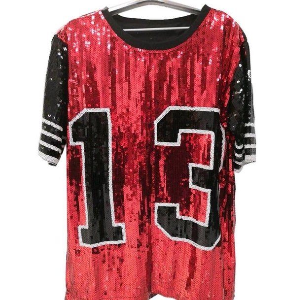 13 Sequin Black, White and Red Jersey Dress