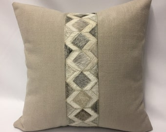 Diamond Hide Band Decorative Pillow Cover in Taupe