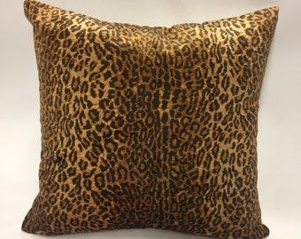 Velvet Cheetah Print Pillow Cover in Bronze & Black