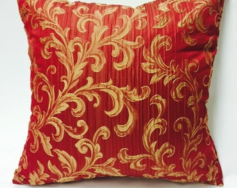 Red and Gold Pillow Cover