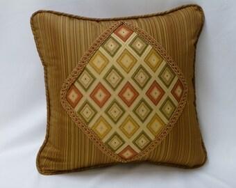 Custom Diamond Appliqued Pillow Cover with Decorative Braid