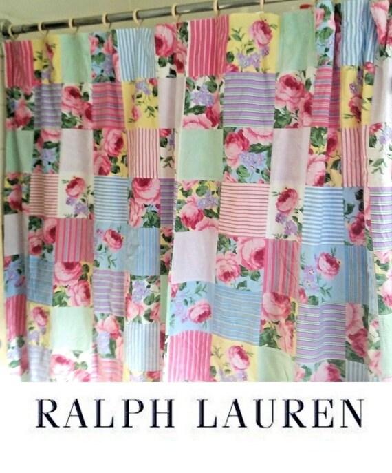 Ralph Lauren Watermill Patchwork Shower Curtain Lined 100