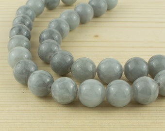 12 mm Calcite beads • Grey beads • Grey calcite beads • Natural calcite beads • Gemstone beads• Round beads supplies•smooth grey beads
