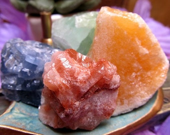 Calcite Healing Crystal Set, Red Calcite, Blue Calcite, Green Calcite, Orange Calcite Healing Stones, Chakra Crystals, Reiki Energy