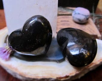 Two Pieces Gorgeous Puffy Shungite Hearts, Healing Stones, Well Being, Health, Power, Strength, Positive Light And Energy