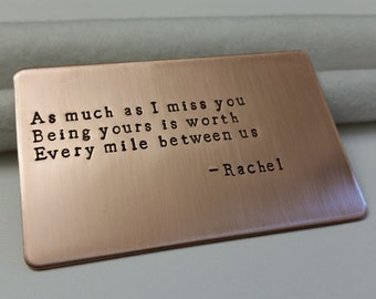 Wallet Insert card, Long distance relationship gift, Valentine's Gift, Military gift