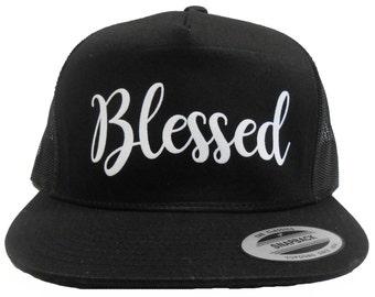 4e62662ee37 Unisex Workout Hat. Snapback Cap. Graphic Hat. Snapback Hat. Retro Cap.  Flat bill Hat. Blessed Hat. Blessed Graphic Hat