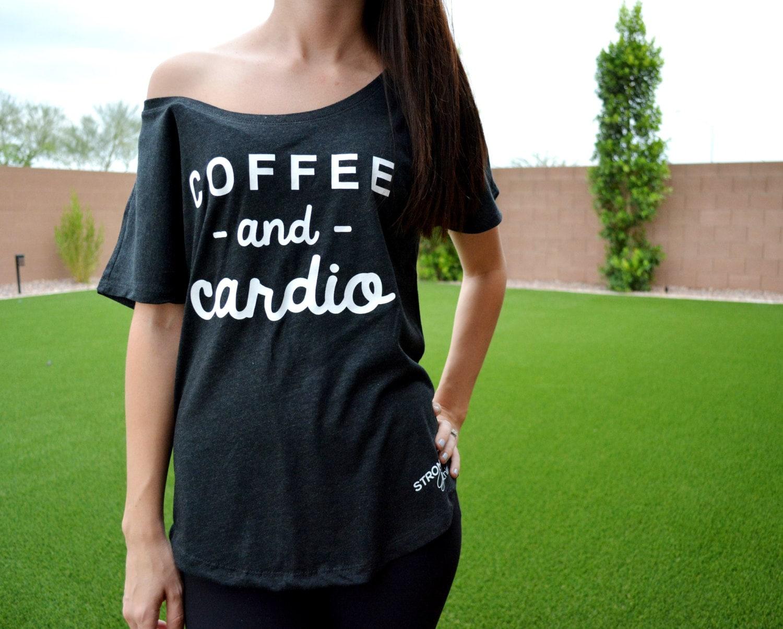 d8dcedae3f7e Coffee   Cardio Off Shoulder Flowy Tee. Brunch Shirt. Brunch