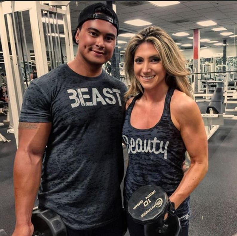 38a87dbbf30 Beauty and Beast Shirt Set. Couples Workout Burnout Tops. Mens