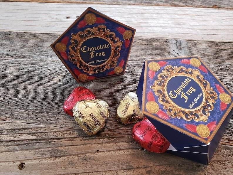 photo about Chocolate Frog Printable titled Printable HP encouraged Chocolate Frog like box with editable terms
