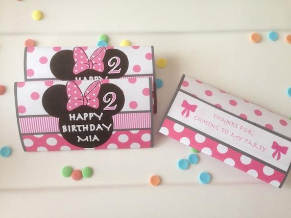 50 X Personnalisé wrappers pour chocolat anniversaire Ajouter une photo bleu ou rose