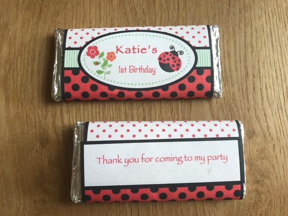Party FAVOUR CHOCOLATES ANY OCCASION Personalised LADYBIRD Birthday Shower