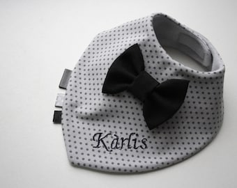 Personalised baby bib , Embroydery bib , Baptism bib, bow tie bib baby bandana bib removable bow tie, baby shower gift for newborn, infant