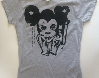 "Screen printing Disme Dis(ney).. Great awesome punk ""Disney"" gray T-shirt."