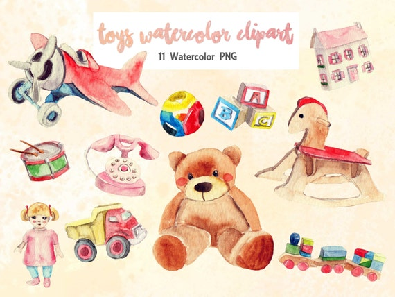 Toys Baby Clipart Watercolor 11 Png Digital Download Bear Etsy