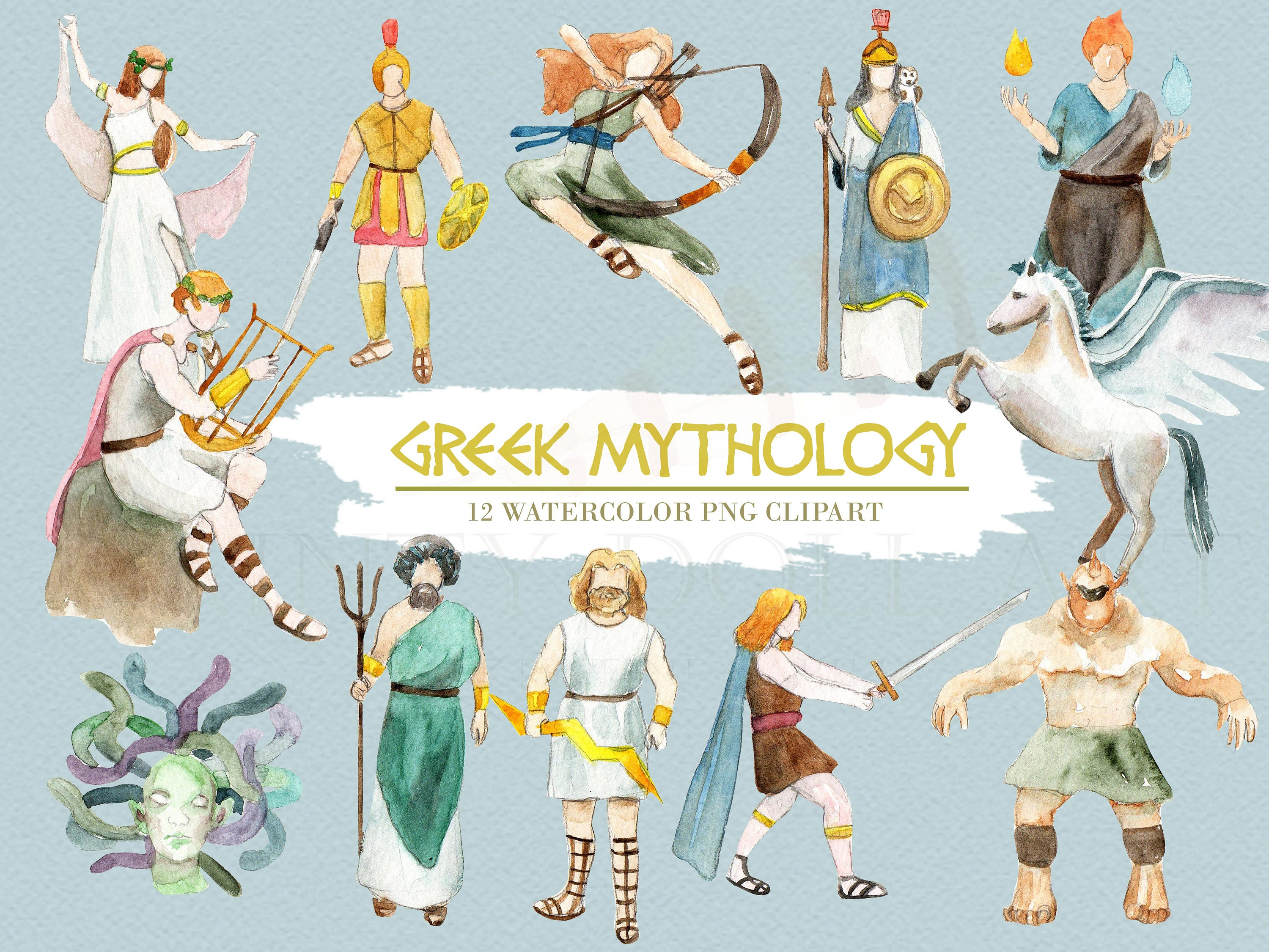 greek mythology clipart watercolor digital download greece vector rh etsystudio com greek mythology clipart free greek mythology gods clipart