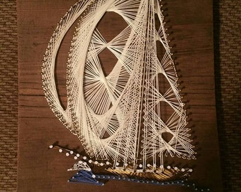 String Theory Sailboat String Art Nautical Theme