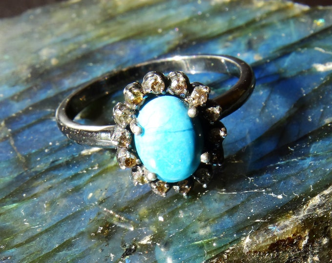 SLEEPING BEAUTY DIAMOND Petite Darkened Sterling Silver ring