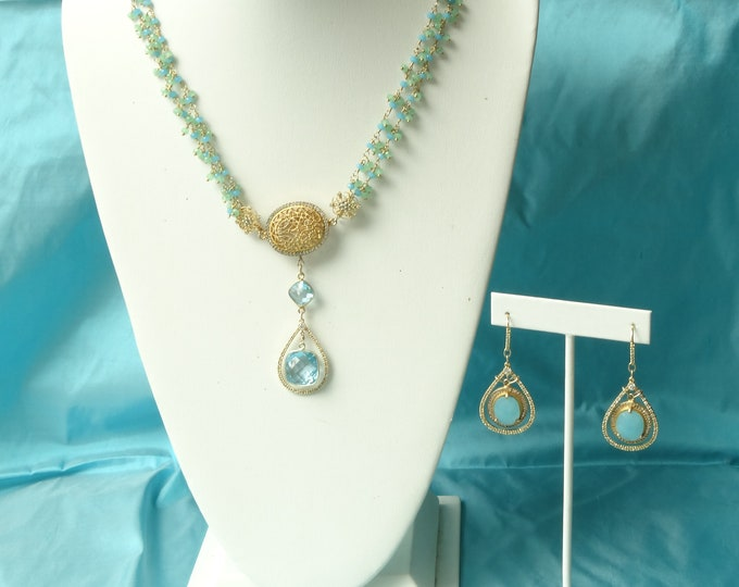 DAZZLING CHALCEDONY and Blue TOPAZ necklace with czs and gold vermeil componants