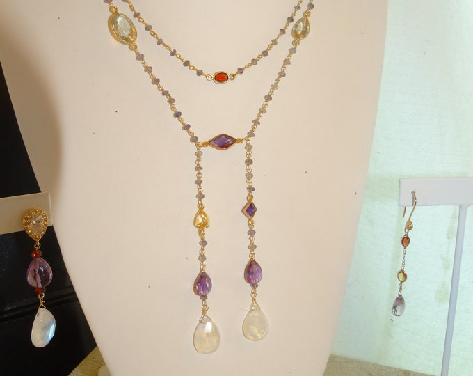 DECO INSPIRED FABULOUS Necklace,Iolite and mixed gemstone chain w/ Moonstones &Amythist Pendants
