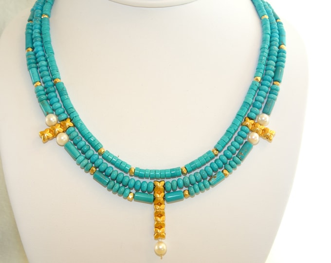 UNIQUE TURQUOISE,PEARL and Vermeil collar Stunning!!