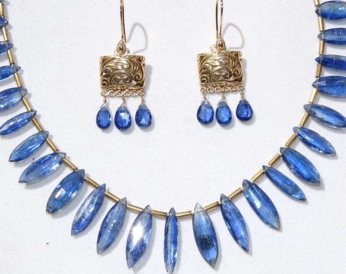 BRILLIANT BLUE KYANITE necklace...artist's choise