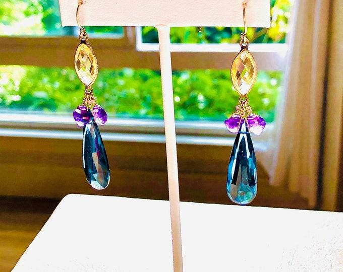 CITRINE ,AMETHYST & London Blue QUARTZ  Earrings -Vermeil Componants