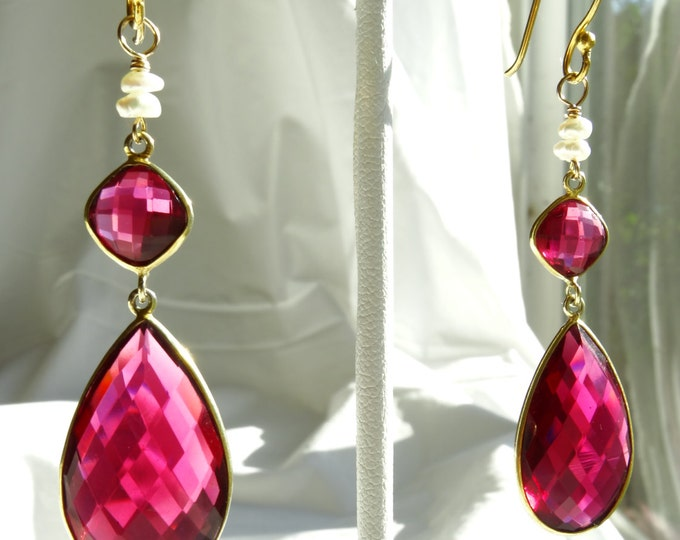 RUBY QUARTZ & PEARL    faceted earrings w/ gold vermeil