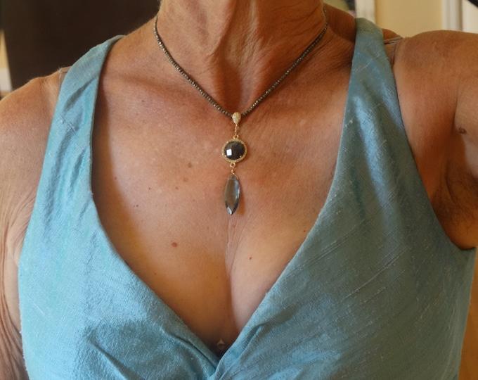 GLAMORUS LABRADORITE and BlueQuartz Pendant,Pryrite faceted gem necklace