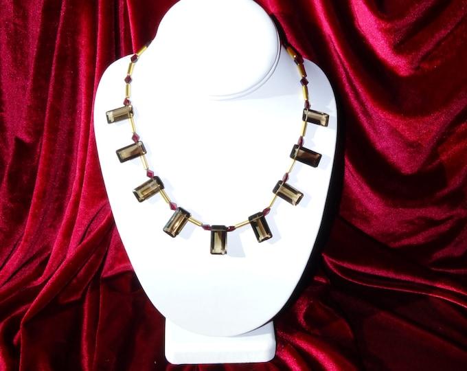 SMOKEY QUARTZ/GARNET Collar with Gold Vermeil beads