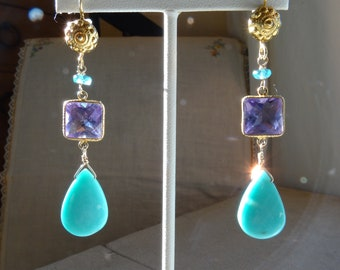 TURQUOISE AMETHYST and APATITE Earrings