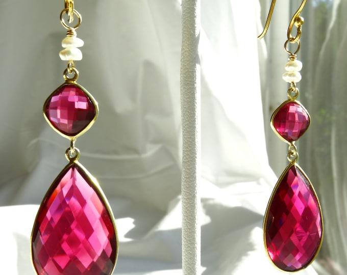 RUBY QUARTZ & PEARL    faceted earrings w/ gold vermeil