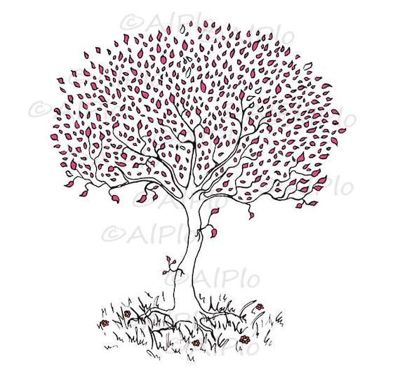 Dibujo Floral De Paisaje De Descarga Digital De árbol De Amor Etsy