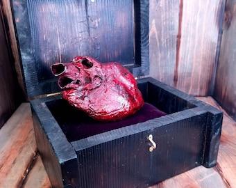 Tell-Tale Heart - Mummified Pig Heart in Handmade Wooden Box with Velvet Lining