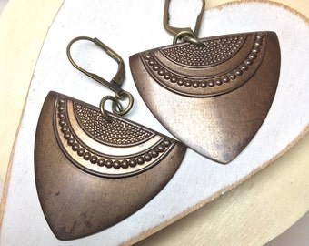 Dangle Earrings, Leverback Earrings, Vintaj Earrings, Women's Earrings, Birthday Earrings, Bronze Metal, Trendy Shape, Earrings, Gift for
