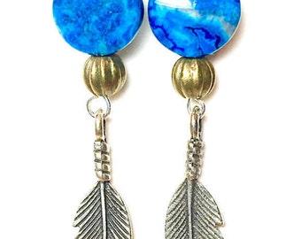 Dangle Earrings, Boho Feather Earrings, Semi Precious Stone, Women's Earrings, Handmade Jewelry, Birthday, Blue Earrings