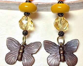 Vintaj Butterfly Golden Dangle Earrings, Handmade Earrings, Lampwork Beads, Birthday, Mothers Day, Yellow gold, Women's Earrings