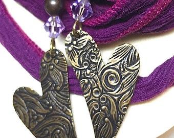 Pink Purple Heart Dangle Earrings, Acrylic Beaded Earrings, Swarovski Crystal Earrings, Handmade Earrings, Mothers Day, Birthday