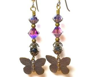 Butterfly Earrings, Butterfly Charm, Jewelry, Bronze Earrings, Vintaj, Silver Plated, Birthday, Graduation Present