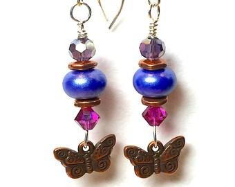 """Earrings, Jewelry, Handmade, Dangle Earrings, Women's Earrings, Tierra Cast Butterfly Charms  2 1/4"""" Long"""