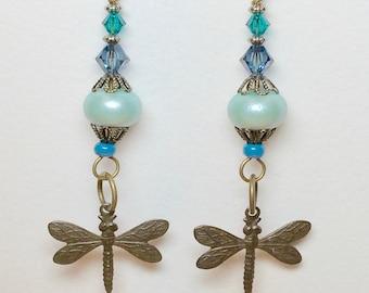 "Earrings Handmade, Handmade Lampwork Glass Beads, Dangle Earrings 3 1/8"" length, Swarovski Crystal, Women's Earrings, Handmade Jewelry, Gift"