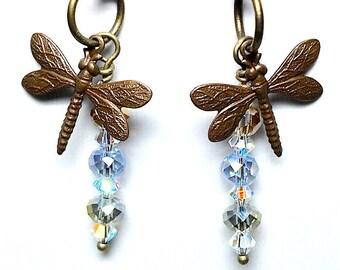Dragonfly Dangle Earrings, Handmade Earrings, Vintaj Charm Earrings, Women's Earrings, Motherd Day, Birthday