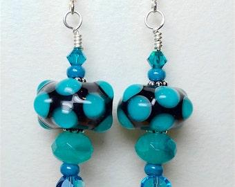 "Earrings, Jewelry, Lampwork Glass Polka Dot 2 1/8"" Inches Long"
