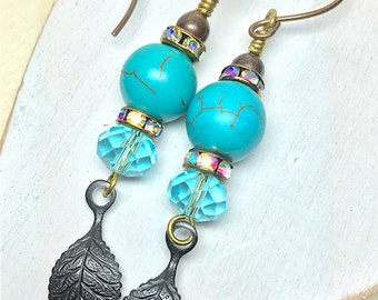 Blue Magnesite, Drop Earring, Handmade, Turquoise Blue Dangle Earrings, Birthday, Faceted Earring, Womans Earrings