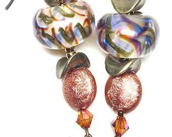 Dangle Earrings, Handmade Lampwork Earrings, Handmade Earrings, Mothers Day, Birthday, Blue Green Swirls, Swarovski Crystals